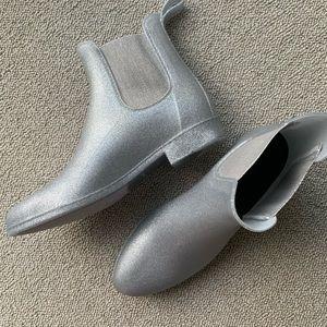 J. Crew Silver Glitter Chelsea Rain Boots